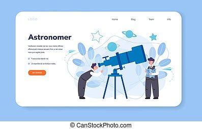pagina, o, astronomo, atterraggio, web, bandiera, astronomia