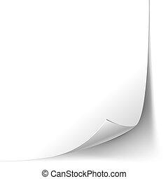 pagina, papier, hoek, krul