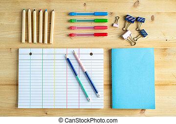 pagina, serie, penne, libro, clip, quaderno blu, coperchio, foderare, pastelli
