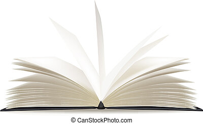 pagina's, boek, geopend, leeg, witte