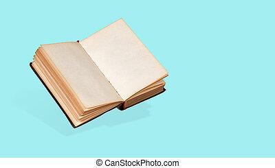 pagina's, boek, open, oud, leeg