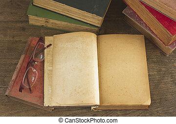 pagina's, boek, oud, geopend, leeg