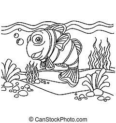 pagina's, kleuren, vector, clownfish