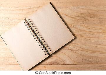 pagina's, opengeslagen boek, houten, leeg