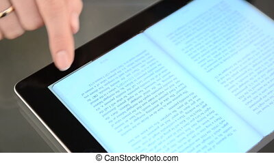 pagine, di, e-libro, su, il, tavoletta, computer