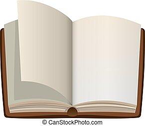 pagine, libro, vuoto, aperto, cartone animato, vuoto