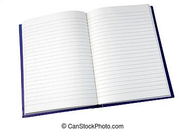 pagine, quaderno, aperto, isolato, white.