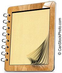 pagine, tavoletta, legno, computer, quaderno