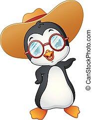 paglia, cappello estate, cartone animato, pinguino
