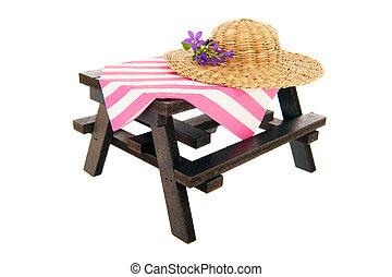 paglia, estate, tavola picnic, cappello