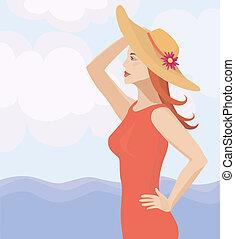 paglia, ragazza, cappello