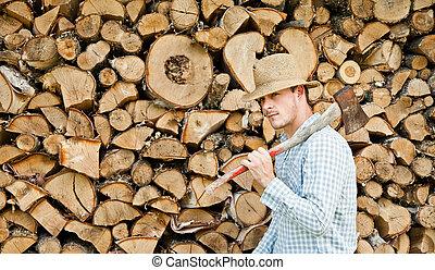 paglia, tagliaboschi, legno, cappello, fondo