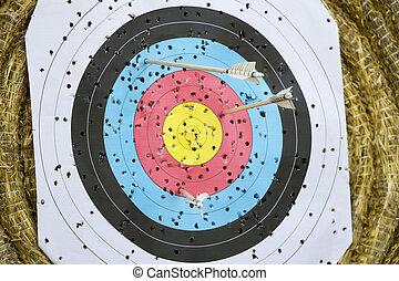 paglia, tiro con l'arco, frecce, bersaglio, fondo