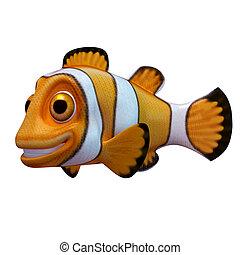 pagliaccio, cartone animato, fish