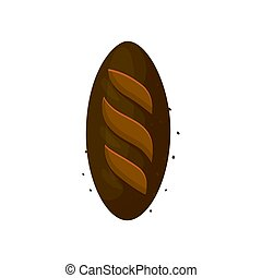 pagnotta, bread, segale, isolato, illustrazione, scuro, fondo., vettore, icona, bianco