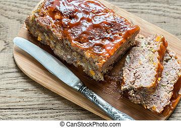 pagnotta, carne, asse legno, salsa barbecue