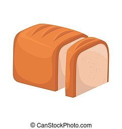 pagnotta, grafico, vettore, fetta, bianco, icona, bread