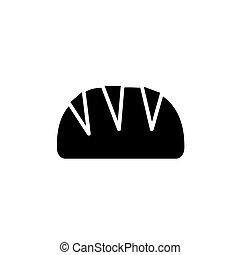 pagnotta, illustrazione, isolato, segno, vettore, sfondo nero, icona, bread