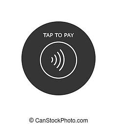 pago, concepto, contactless, icon., -, golpecito, paga,...