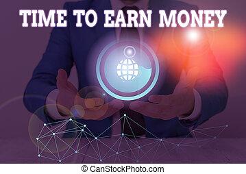 pago, ganhar, negócio, conceitual, ou, texto, property., dinheiro., sinal, adquira, investir, tempo, trabalho, mostrando, foto, feito