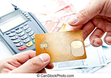 pago, máquina, y, tarjeta de crédito