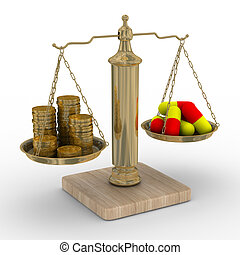 pago, medicine., custo, de, treatment., isolado, 3d, imagem