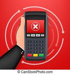 pago, rechazado, acción, payment., vector, illustration., ...