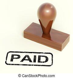 pago, selo borracha, mostra, pagamento, confirmação