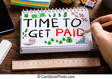 pago, tempo, notepad, adquira