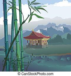 pagoda, a, il, fiume