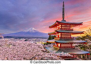 Pagoda and Fuji in Spring - Fujiyoshida, Japan at Chureito...