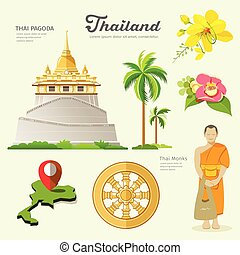 Pagoda and monks with flower collections of Thailand