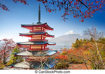 Pagoda and Mt. Fuji - Mt. Fuji, Japan with Chureito Pagoda.