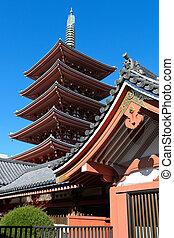 Pagoda at Sensoji Asakusa Temple in Tokyo, Japan