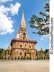 Pagoda at Wat Chalong or Chalong temple in Phuket , Thailand