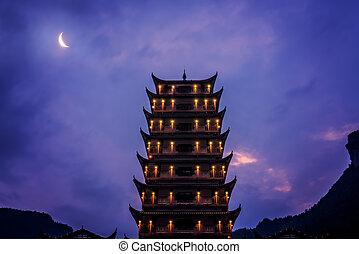 Pagoda at Wulingyuan entrance to the Zhangjiajie national park
