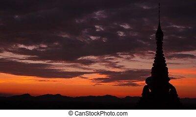 Beautiful pagoda at sunset in Myanmar.