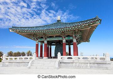pagoda, coreano, amistad, campana