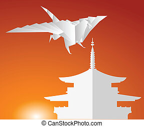 pagoda, dragon., carta