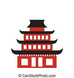 Pagoda flat icon. Buddhist temple isolated on white...