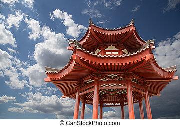 pagoda, gigante, (sian, pagoda, budista, xian, o, ganso,...