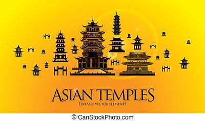pagoda, halánték, ázsiai, épület