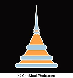 Pagoda icon, cartoon style