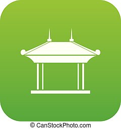 Pagoda icon digital green for any design isolated on white...