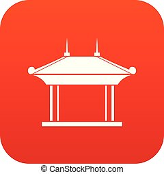 Pagoda icon digital red for any design isolated on white...