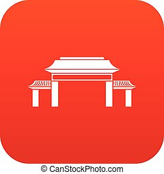 Pagoda icon digital red
