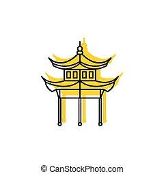 Pagoda icon, doodle style