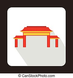 Pagoda icon, flat style