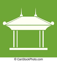 Pagoda icon green - Pagoda icon white isolated on green...