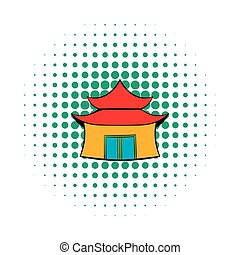 Pagoda icon in comics style